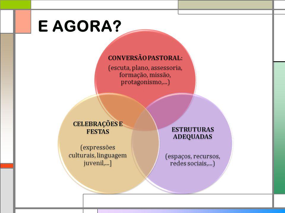 E AGORA? CONVERSÃO PASTORAL: (escuta, plano, assessoria, formação, missão, protagonismo,...) ESTRUTURAS ADEQUADAS (espaços, recursos, redes sociais,..