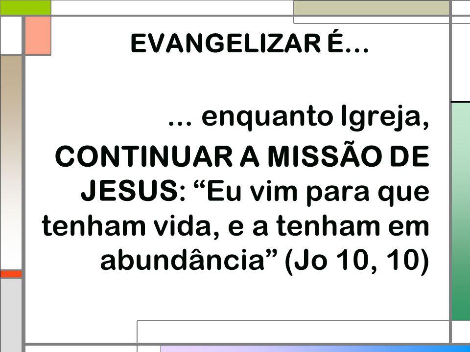 """EVANGELIZAR É...... enquanto Igreja, CONTINUAR A MISSÃO DE JESUS: """"Eu vim para que tenham vida, e a tenham em abundância"""" (Jo 10, 10)"""