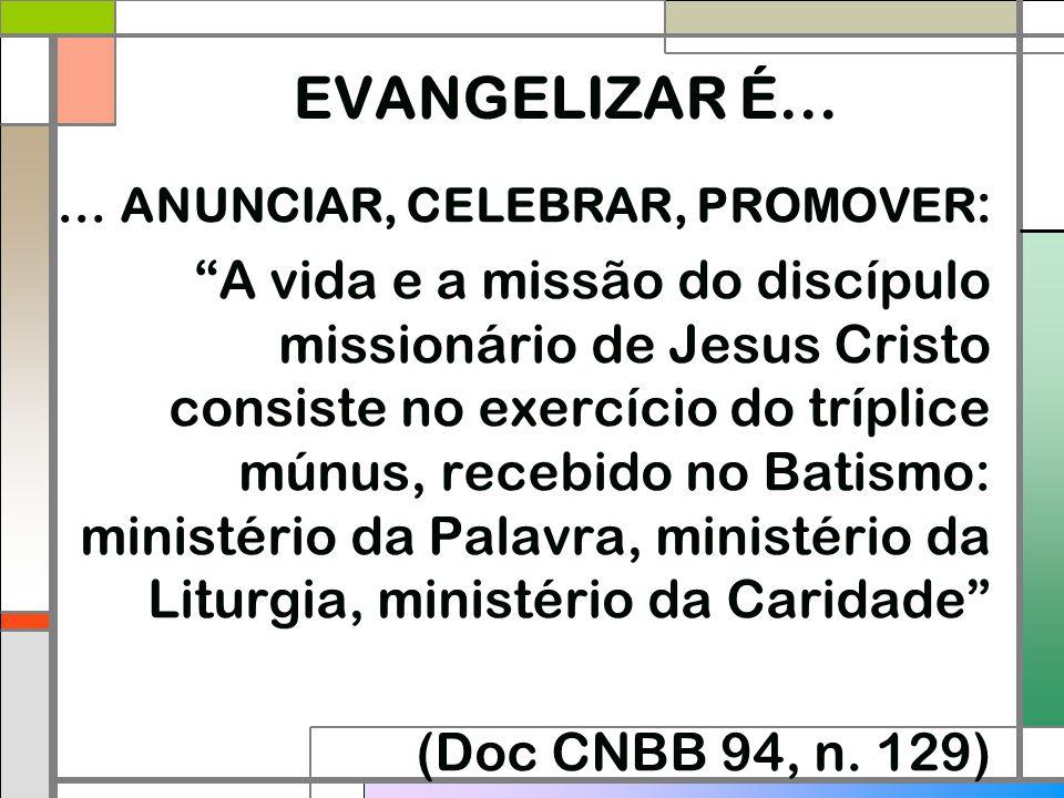 """EVANGELIZAR É...... ANUNCIAR, CELEBRAR, PROMOVER : """"A vida e a missão do discípulo missionário de Jesus Cristo consiste no exercício do tríplice múnus"""