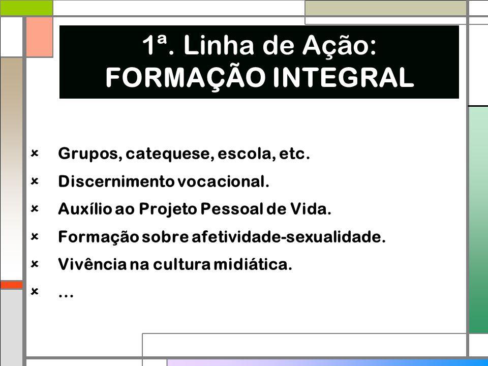 1ª. Linha de Ação: FORMAÇÃO INTEGRAL  Grupos, catequese, escola, etc.  Discernimento vocacional.  Auxílio ao Projeto Pessoal de Vida.  Formação so