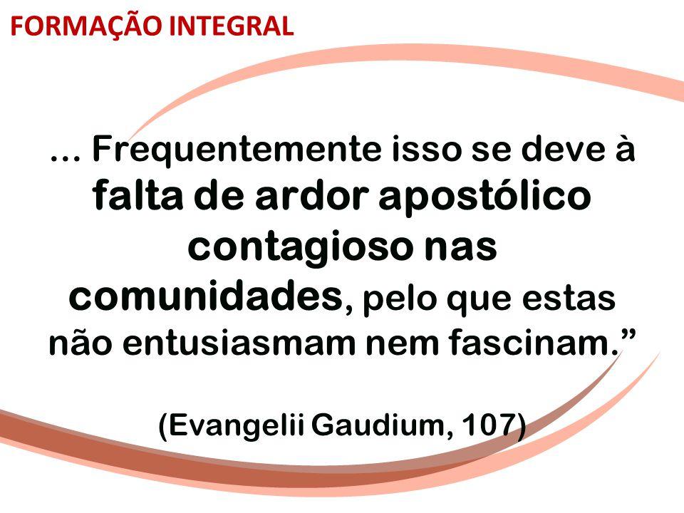 """FORMAÇÃO INTEGRAL... Frequentemente isso se deve à falta de ardor apostólico contagioso nas comunidades, pelo que estas não entusiasmam nem fascinam."""""""