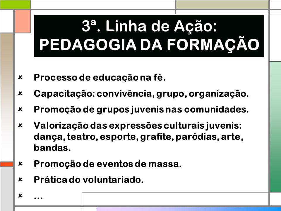  Processo de educação na fé.  Capacitação: convivência, grupo, organização.  Promoção de grupos juvenis nas comunidades.  Valorização das expressõ