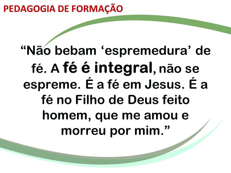 """""""Não bebam 'espremedura' de fé. A fé é integral, não se espreme. É a fé em Jesus. É a fé no Filho de Deus feito homem, que me amou e morreu por mim."""""""