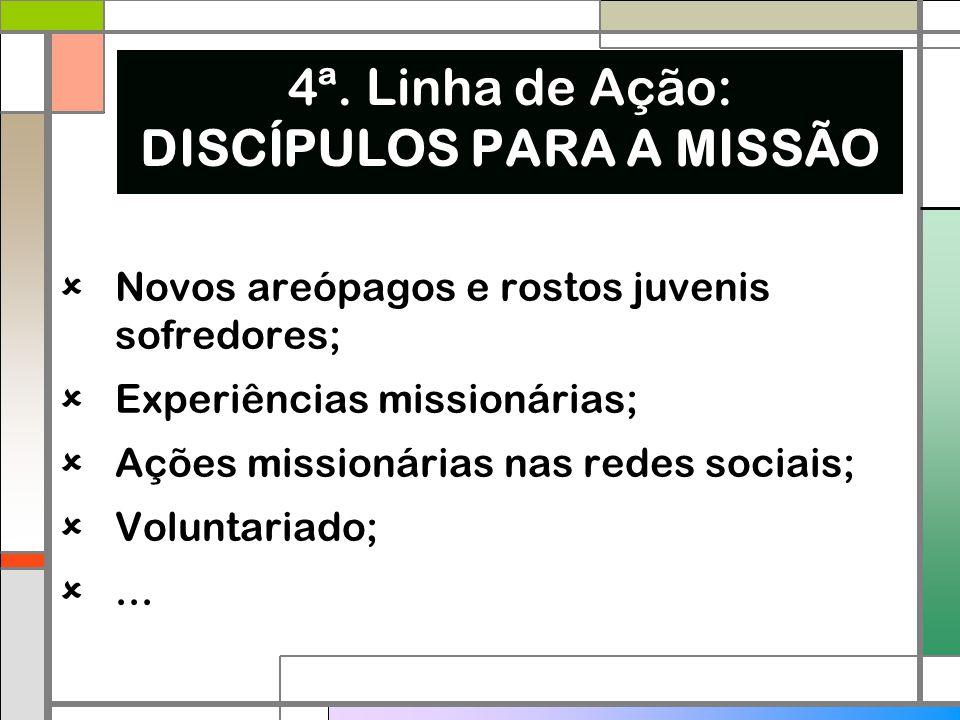  Novos areópagos e rostos juvenis sofredores;  Experiências missionárias;  Ações missionárias nas redes sociais;  Voluntariado; ... 4ª. Linha de