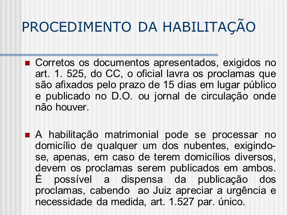 PROCEDIMENTO DA HABILITAÇÃO Corretos os documentos apresentados, exigidos no art. 1. 525, do CC, o oficial lavra os proclamas que são afixados pelo pr