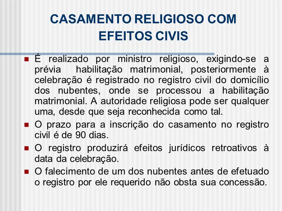 CASAMENTO RELIGIOSO COM EFEITOS CIVIS É realizado por ministro religioso, exigindo-se a prévia habilitação matrimonial, posteriormente à celebração é