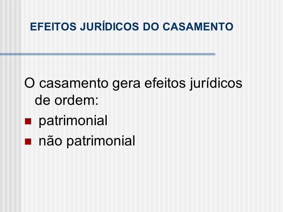 EFEITOS JURÍDICOS DO CASAMENTO O casamento gera efeitos jurídicos de ordem: patrimonial não patrimonial