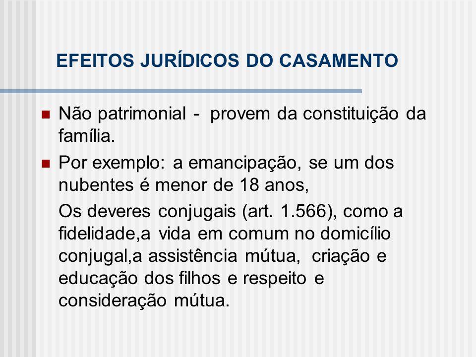 EFEITOS JURÍDICOS DO CASAMENTO Não patrimonial - provem da constituição da família. Por exemplo: a emancipação, se um dos nubentes é menor de 18 anos,