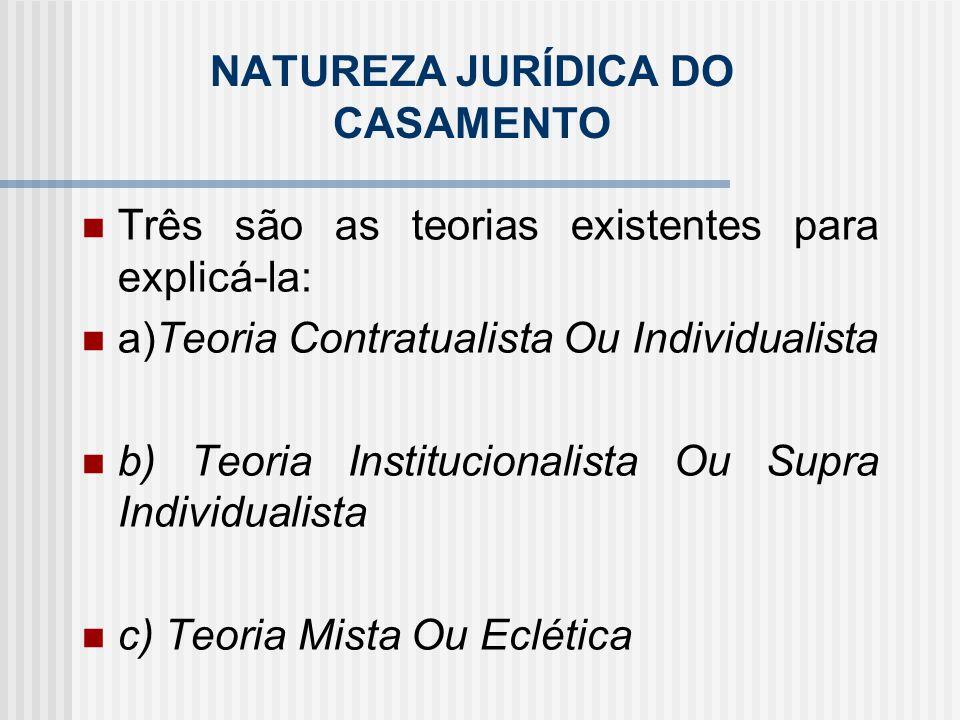 a)Teoria Contratualista ou Individualista Para a qual o casamento seria uma relação puramente contratual.