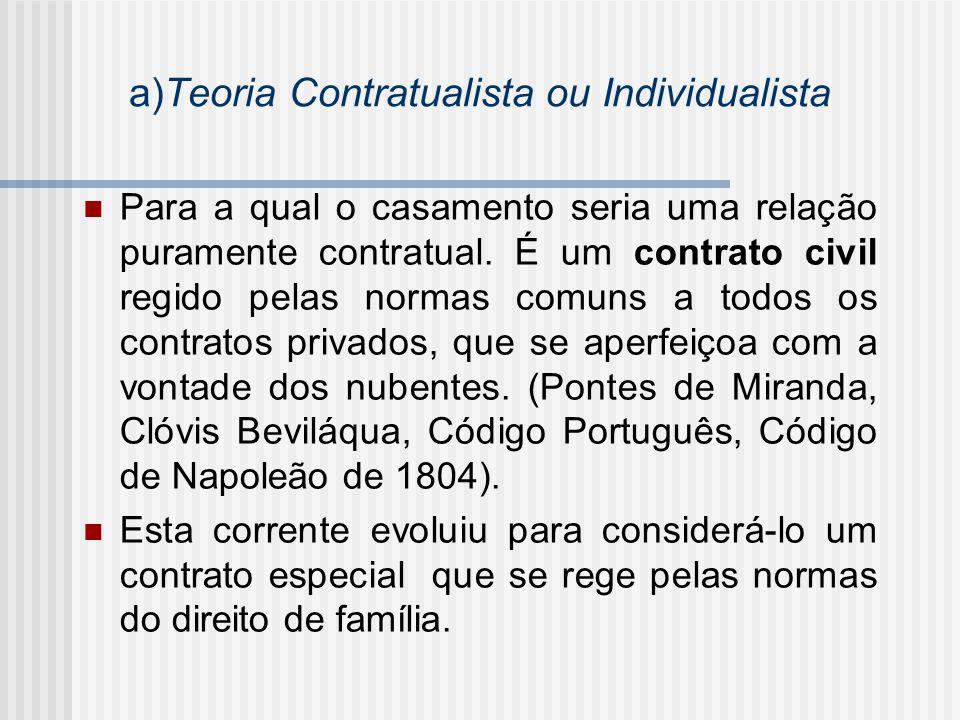 a)Teoria Contratualista ou Individualista Para a qual o casamento seria uma relação puramente contratual. É um contrato civil regido pelas normas comu