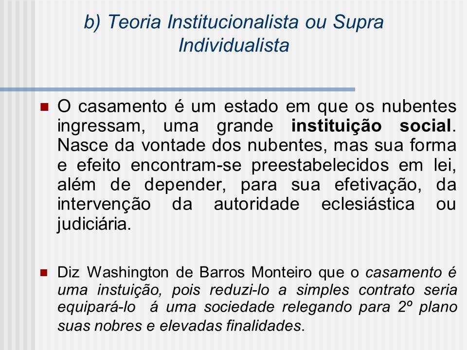 b) Teoria Institucionalista ou Supra Individualista O casamento é um estado em que os nubentes ingressam, uma grande instituição social. Nasce da vont