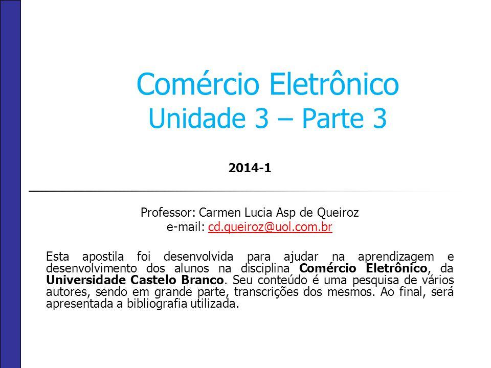 Comércio Eletrônico Unidade 3 – Parte 3 2014-1 Professor: Carmen Lucia Asp de Queiroz e-mail: cd.queiroz@uol.com.brcd.queiroz@uol.com.br Esta apostila