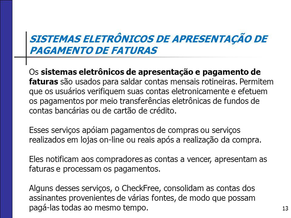 13 SISTEMAS ELETRÔNICOS DE APRESENTAÇÃO DE PAGAMENTO DE FATURAS Os sistemas eletrônicos de apresentação e pagamento de faturas são usados para saldar
