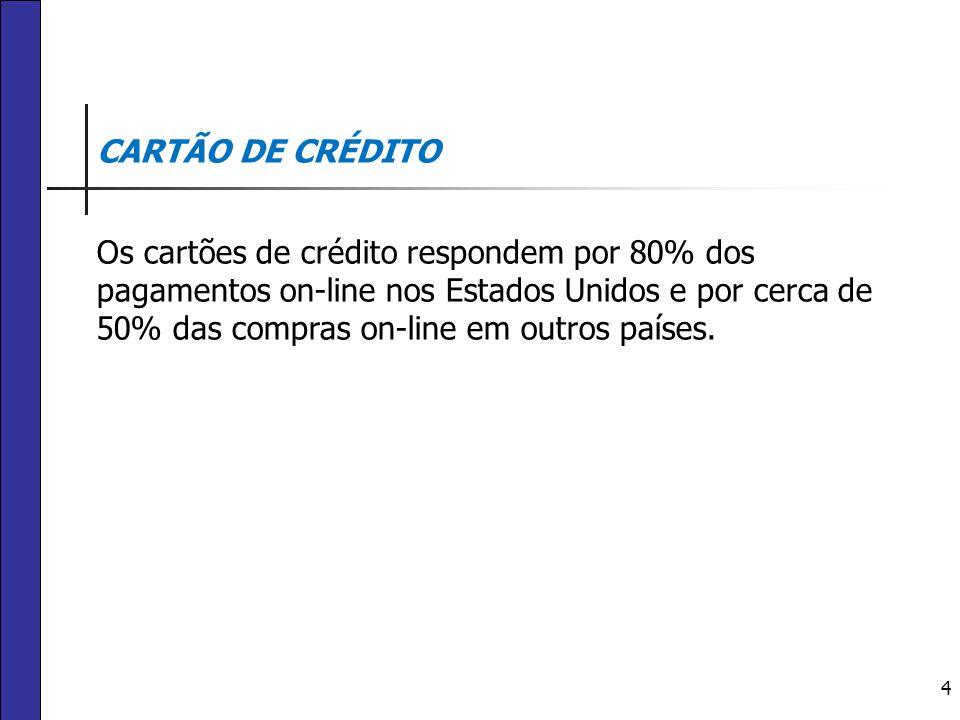 4 CARTÃO DE CRÉDITO Os cartões de crédito respondem por 80% dos pagamentos on-line nos Estados Unidos e por cerca de 50% das compras on-line em outros