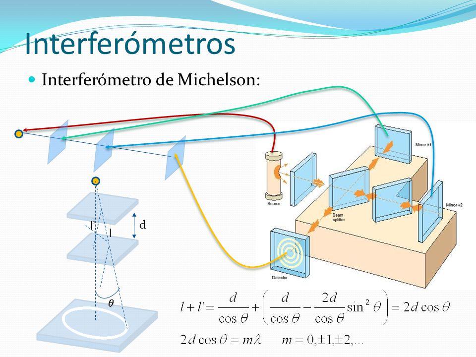 Interferómetros Interferómetro de Michelson:  d l l'