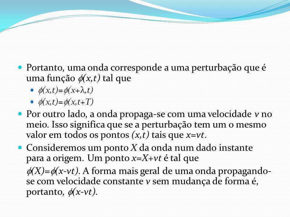 Portanto, uma onda corresponde a uma perturbação que é uma função  (x,t) tal que  (x,t)=  (x+λ,t)  (x,t)=  (x,t+T) Por outro lado, a onda propaga-se com uma velocidade v no meio.