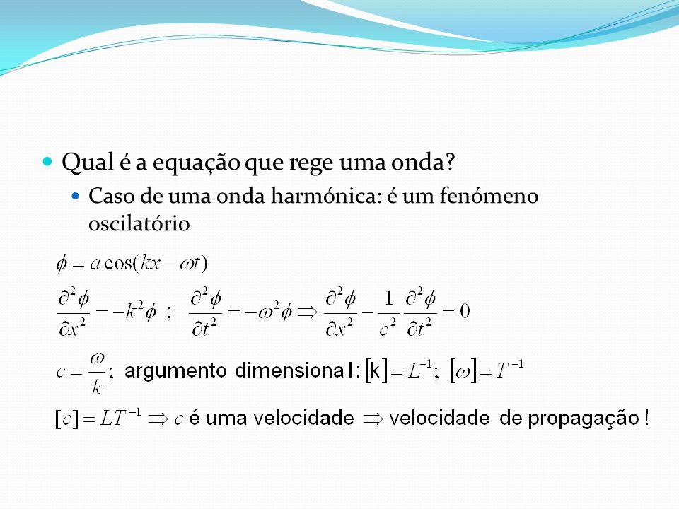 Qual é a equação que rege uma onda? Caso de uma onda harmónica: é um fenómeno oscilatório