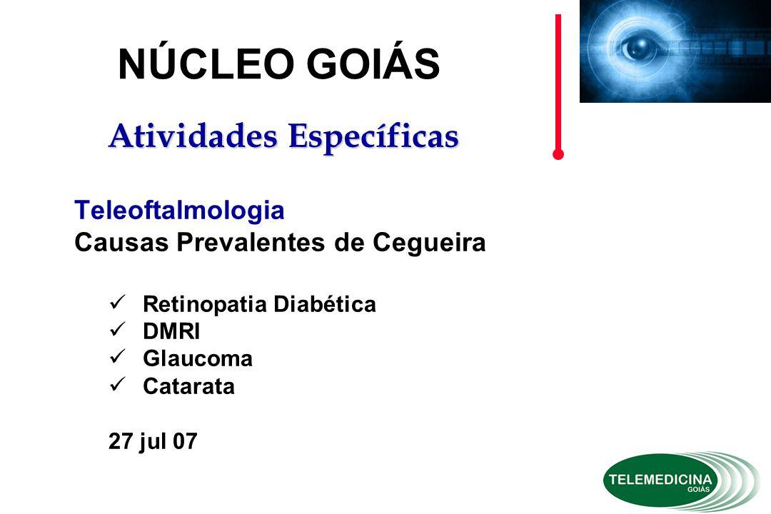 Teleoftalmologia Causas Prevalentes de Cegueira Retinopatia Diabética DMRI Glaucoma Catarata 27 jul 07 NÚCLEO GOIÁS Atividades Específicas