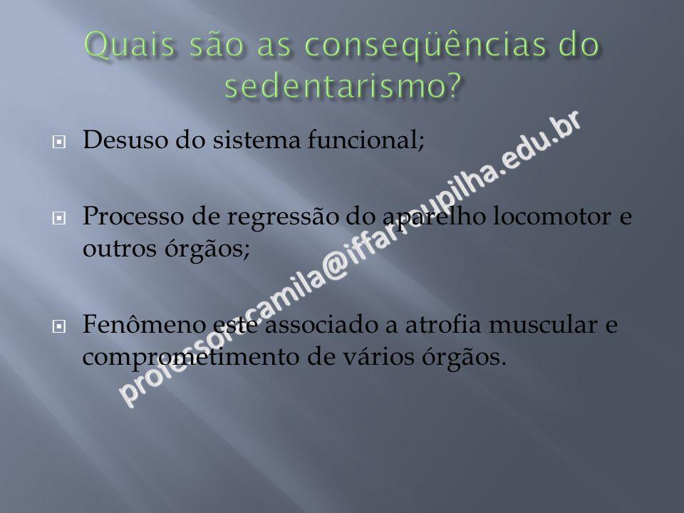 professoracamila@iffarroupilha.edu.br  Desuso do sistema funcional;  Processo de regressão do aparelho locomotor e outros órgãos;  Fenômeno este associado a atrofia muscular e comprometimento de vários órgãos.
