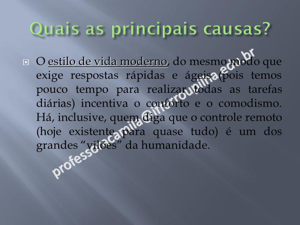professoracamila@iffarroupilha.edu.br estilo de vida moderno  O estilo de vida moderno, do mesmo modo que exige respostas rápidas e ágeis (pois temos