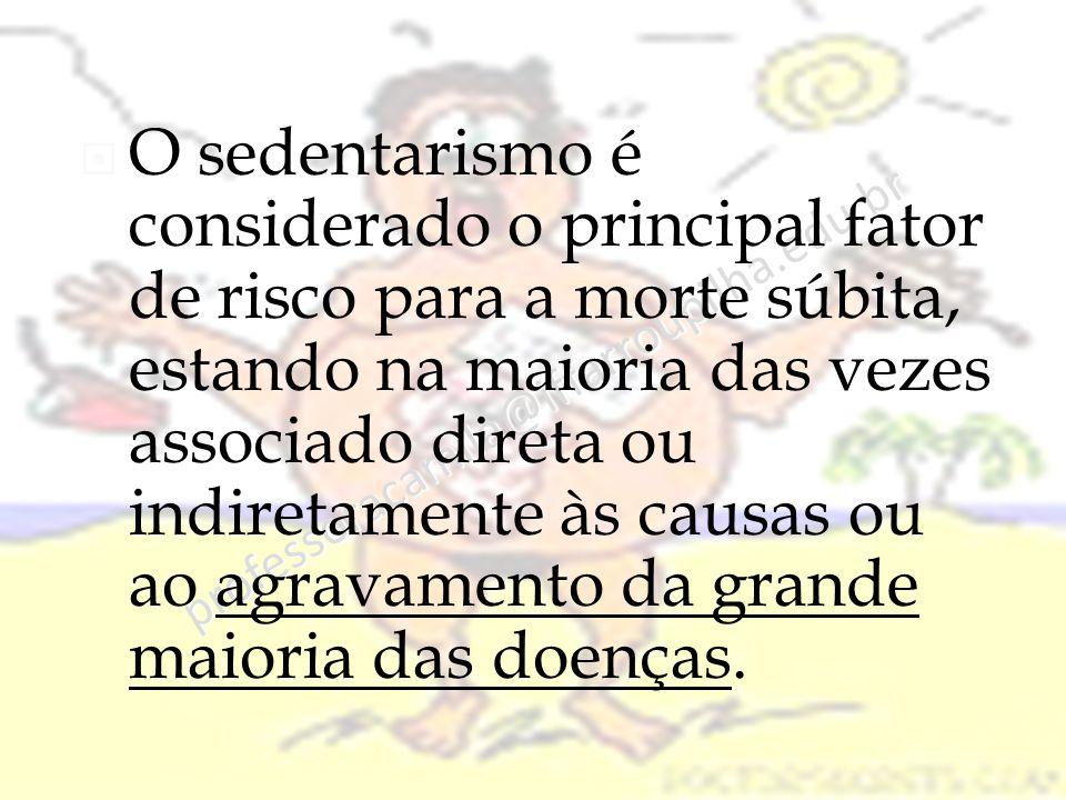professoracamila@iffarroupilha.edu.br  O sedentarismo é considerado o principal fator de risco para a morte súbita, estando na maioria das vezes associado direta ou indiretamente às causas ou ao agravamento da grande maioria das doenças.