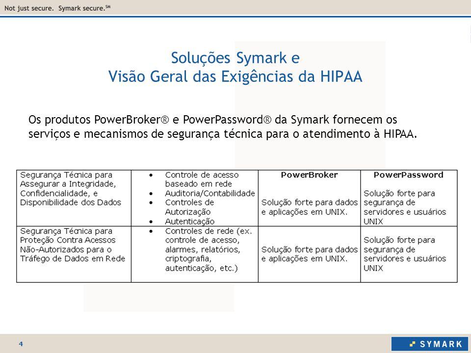 4 Soluções Symark e Visão Geral das Exigências da HIPAA Os produtos PowerBroker® e PowerPassword® da Symark fornecem os serviços e mecanismos de segurança técnica para o atendimento à HIPAA.