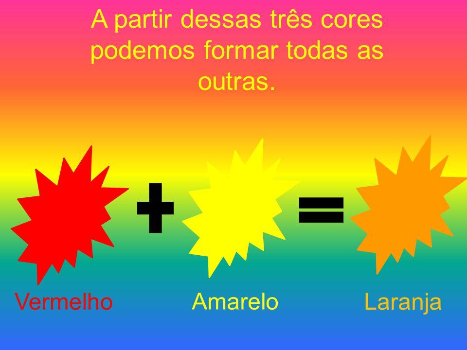 A partir dessas três cores podemos formar todas as outras. Vermelho Amarelo Laranja