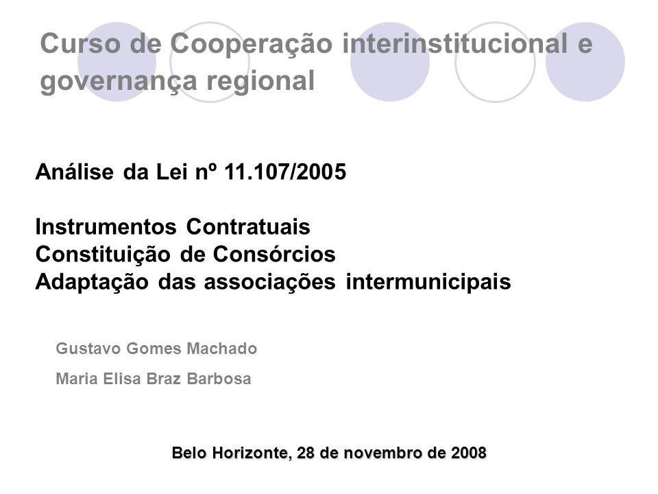 Curso de Cooperação interinstitucional e governança regional Belo Horizonte, 28 de novembro de 2008 Análise da Lei nº 11.107/2005 Instrumentos Contratuais Constituição de Consórcios Adaptação das associações intermunicipais Gustavo Gomes Machado Maria Elisa Braz Barbosa
