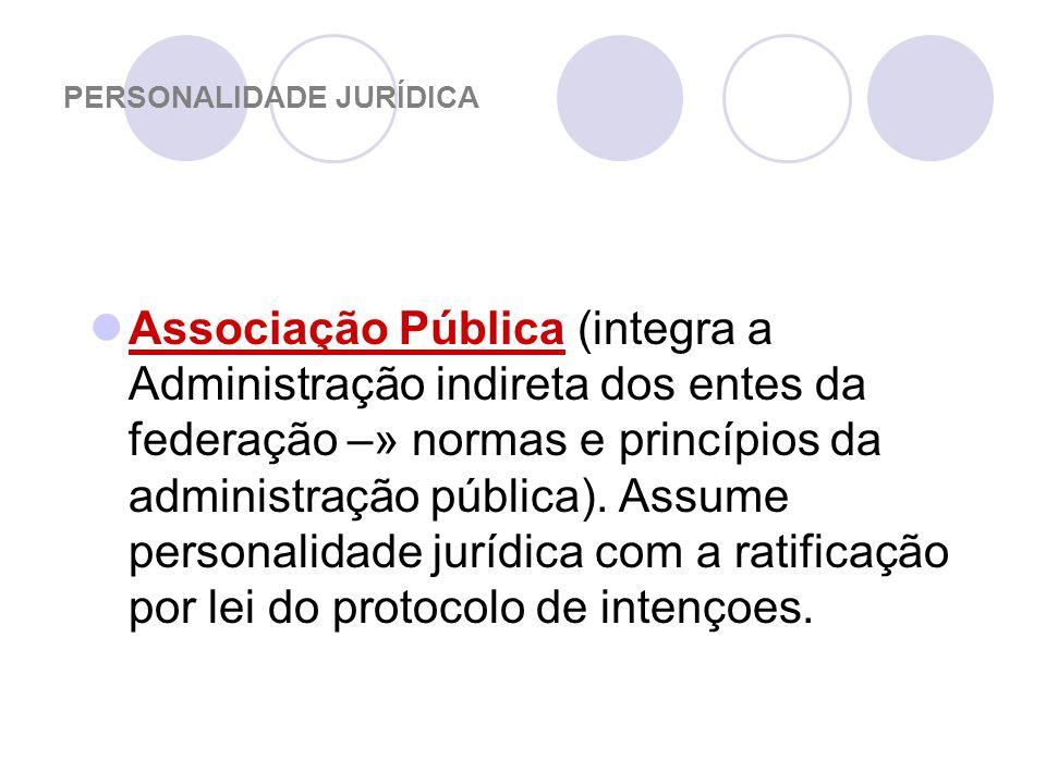 PERSONALIDADE JURÍDICA Associação Pública (integra a Administração indireta dos entes da federação –» normas e princípios da administração pública).