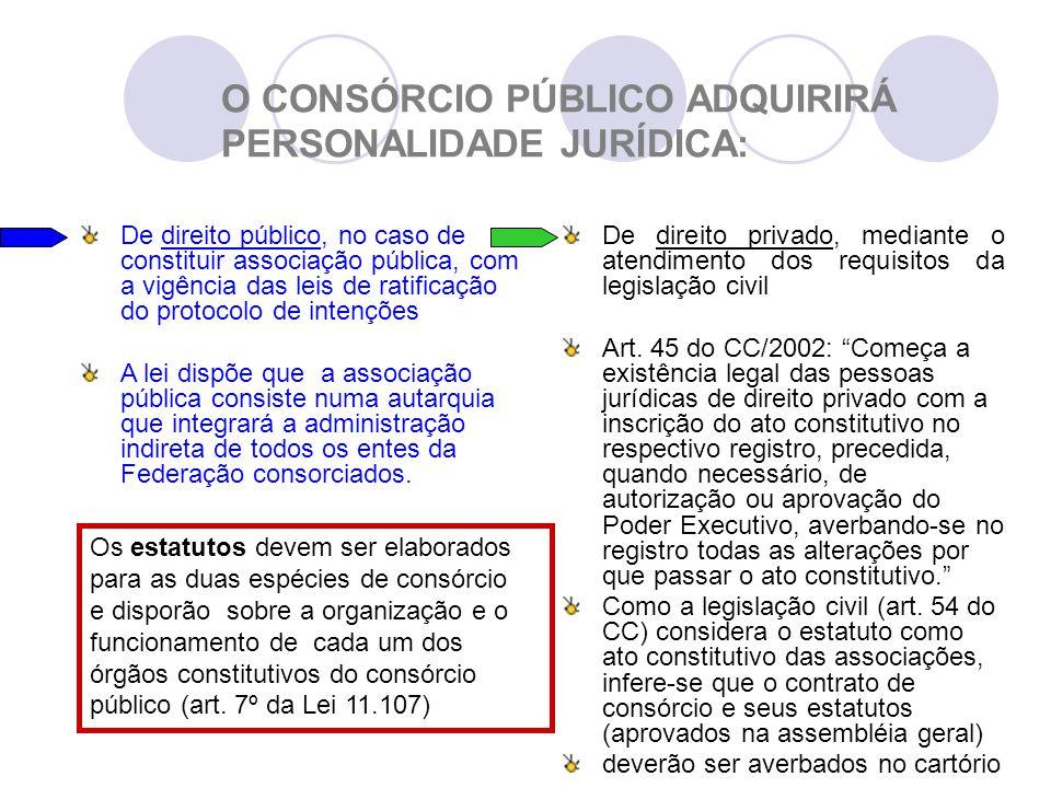 O CONSÓRCIO PÚBLICO ADQUIRIRÁ PERSONALIDADE JURÍDICA: De direito público, no caso de constituir associação pública, com a vigência das leis de ratificação do protocolo de intenções A lei dispõe que a associação pública consiste numa autarquia que integrará a administração indireta de todos os entes da Federação consorciados.