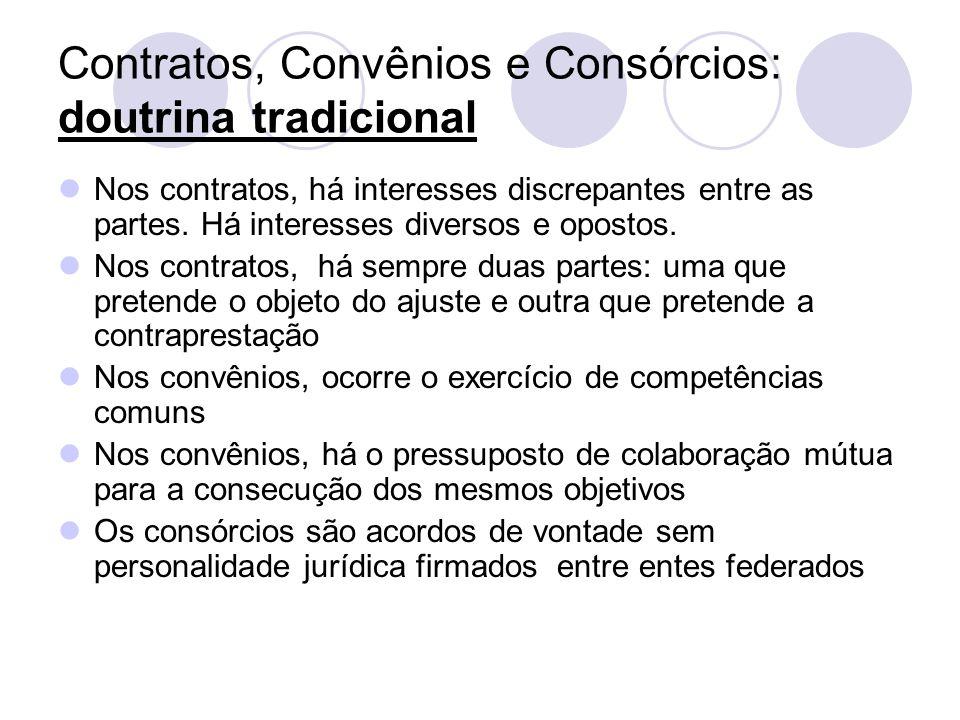 Características peculiares ao convênio Não há o binômio prestação- contraprestação Há objetivos institucionais comuns Os partícipes objetivam o mesmo resultado para todos Há mútua colaboração; as vontades estão no mesmo sentido; não há antagonismo