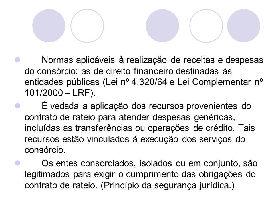 Normas aplicáveis à realização de receitas e despesas do consórcio: as de direito financeiro destinadas às entidades públicas (Lei nº 4.320/64 e Lei Complementar nº 101/2000 – LRF).