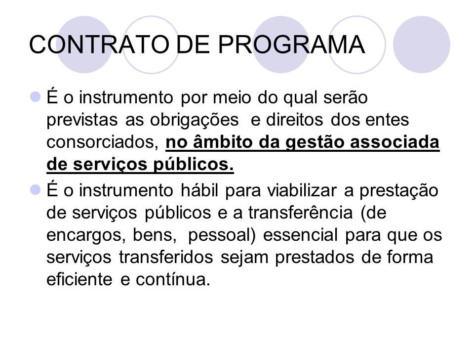 CONTRATO DE PROGRAMA É o instrumento por meio do qual serão previstas as obrigações e direitos dos entes consorciados, no âmbito da gestão associada de serviços públicos.