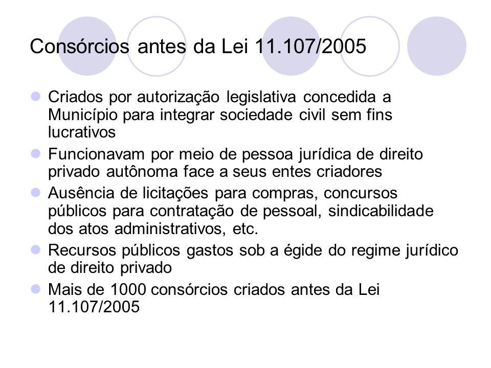 Consórcios antes da Lei 11.107/2005 Criados por autorização legislativa concedida a Município para integrar sociedade civil sem fins lucrativos Funcionavam por meio de pessoa jurídica de direito privado autônoma face a seus entes criadores Ausência de licitações para compras, concursos públicos para contratação de pessoal, sindicabilidade dos atos administrativos, etc.