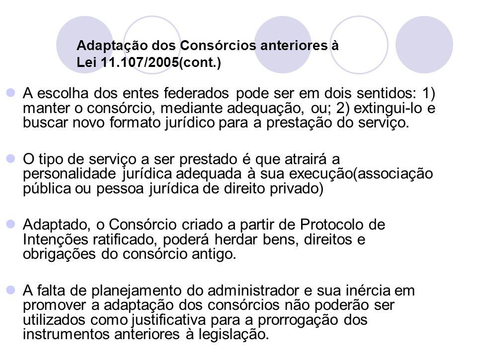 Adaptação dos Consórcios anteriores à Lei 11.107/2005(cont.) A escolha dos entes federados pode ser em dois sentidos: 1) manter o consórcio, mediante adequação, ou; 2) extingui-lo e buscar novo formato jurídico para a prestação do serviço.