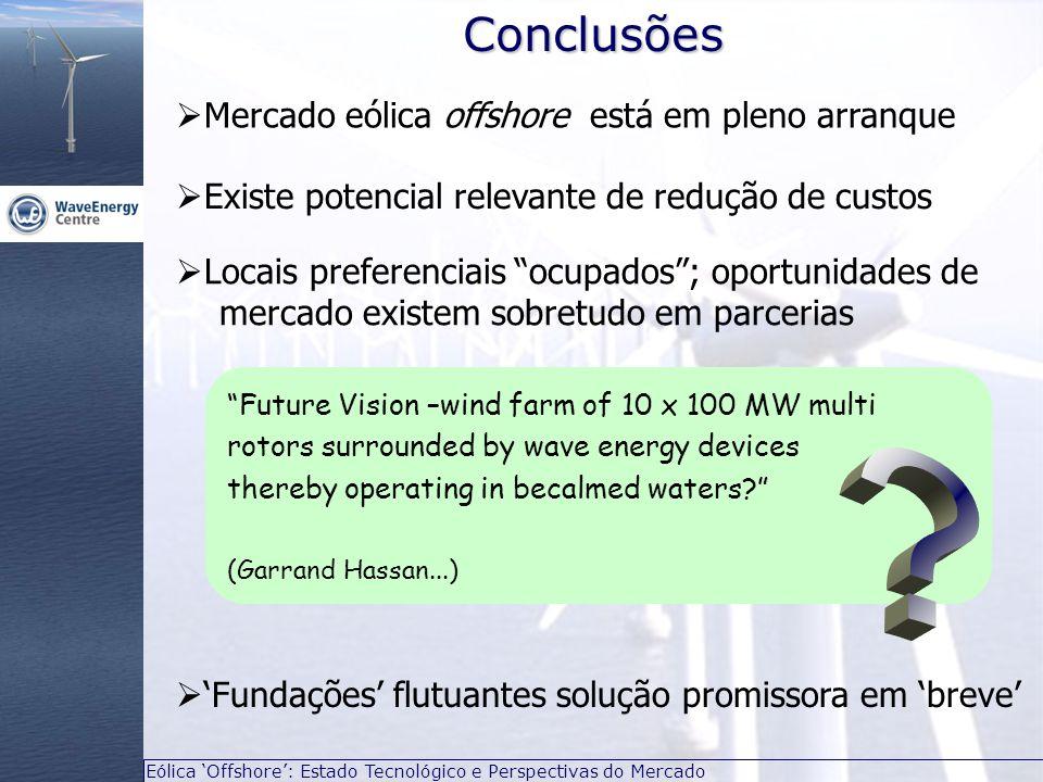 """Eólica 'Offshore': Estado Tecnológico e Perspectivas do Mercado  Mercado eólica offshore está em pleno arranqueConclusões """"Future Vision –wind farm o"""