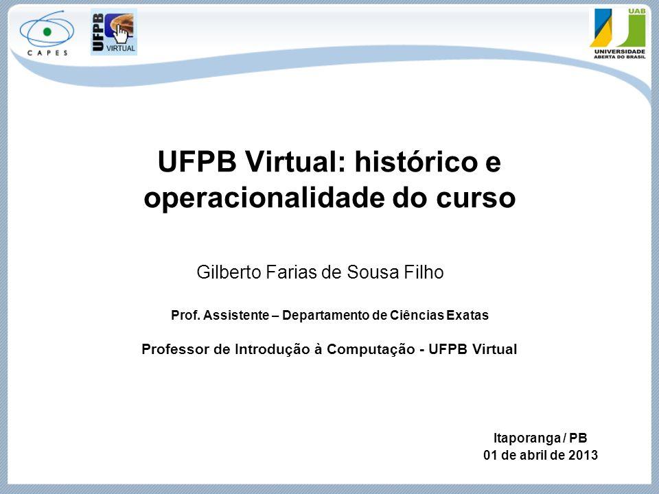 UFPB Virtual: histórico e operacionalidade do curso Prof. Assistente – Departamento de Ciências Exatas Professor de Introdução à Computação - UFPB Vir