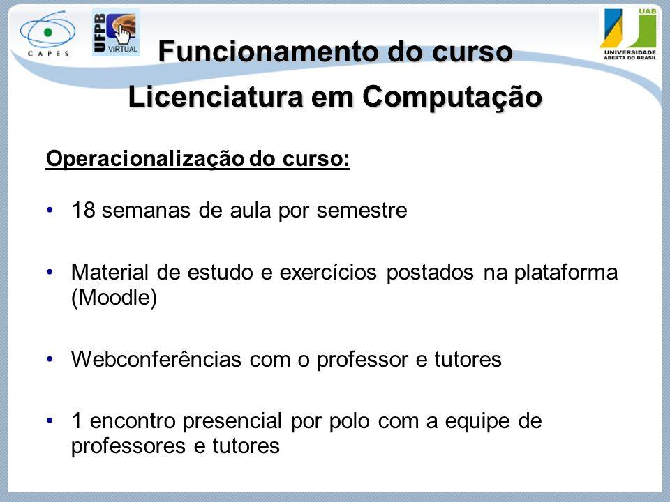 Funcionamento do curso Licenciatura em Computação Operacionalização do curso: 18 semanas de aula por semestre Material de estudo e exercícios postados