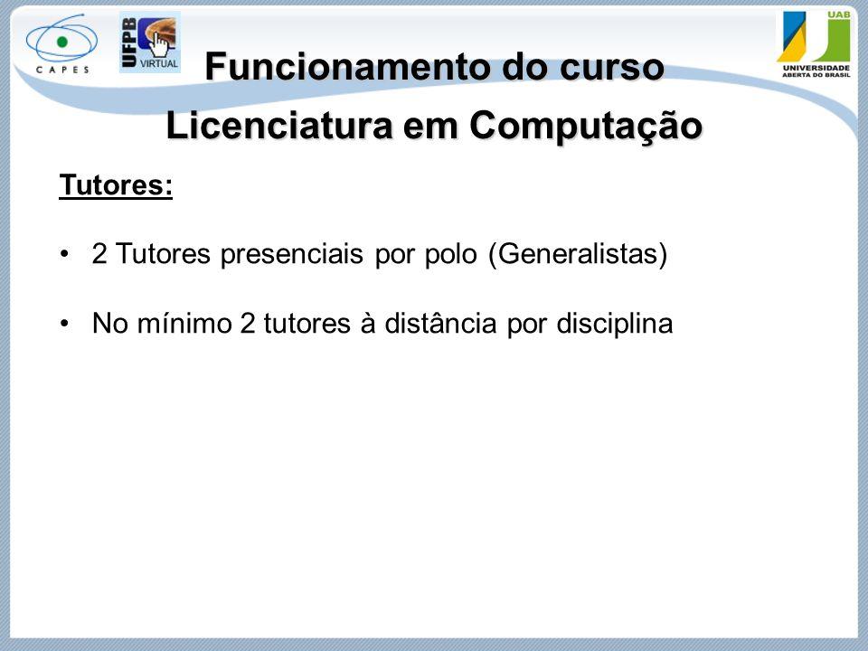 Funcionamento do curso Licenciatura em Computação Tutores: 2 Tutores presenciais por polo (Generalistas) No mínimo 2 tutores à distância por disciplin