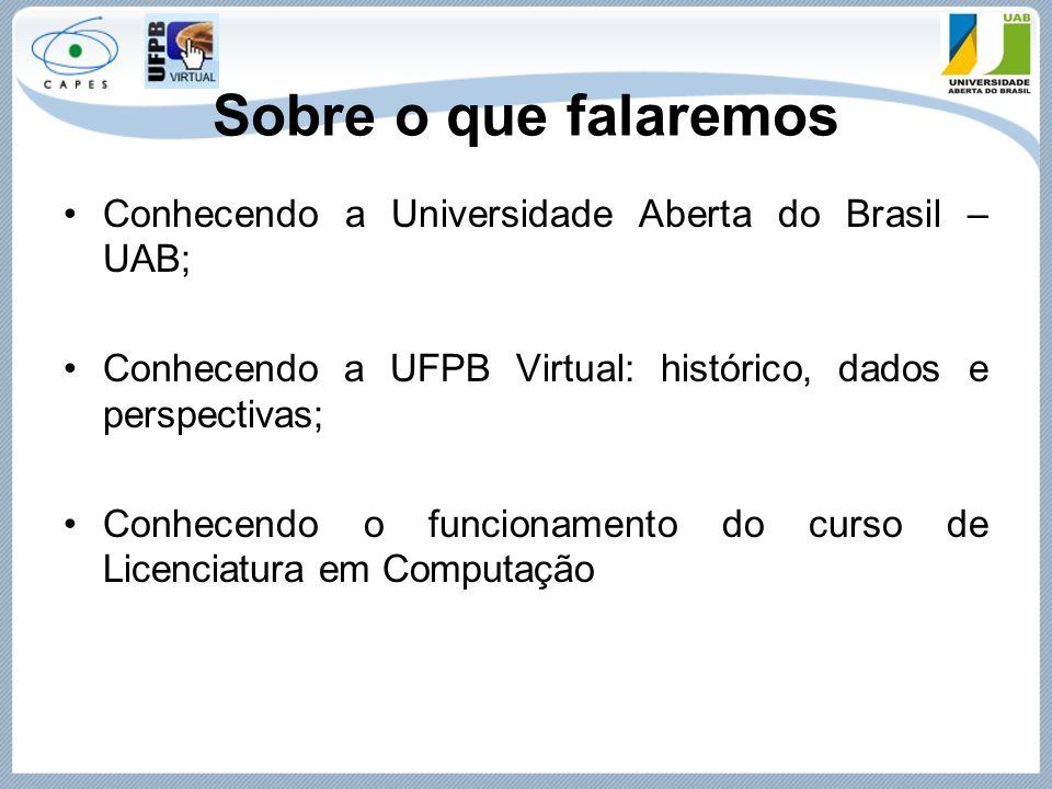 Sobre o que falaremos Conhecendo a Universidade Aberta do Brasil – UAB; Conhecendo a UFPB Virtual: histórico, dados e perspectivas; Conhecendo o funci