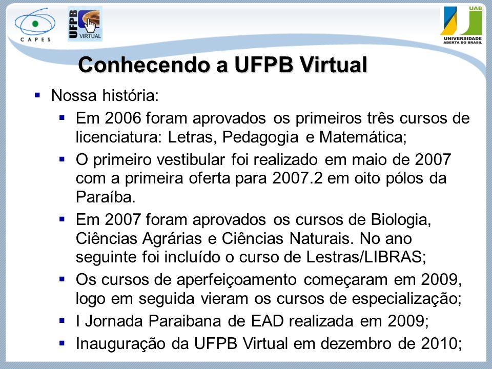 Conhecendo a UFPB Virtual  Nossa história:  Em 2006 foram aprovados os primeiros três cursos de licenciatura: Letras, Pedagogia e Matemática;  O pr