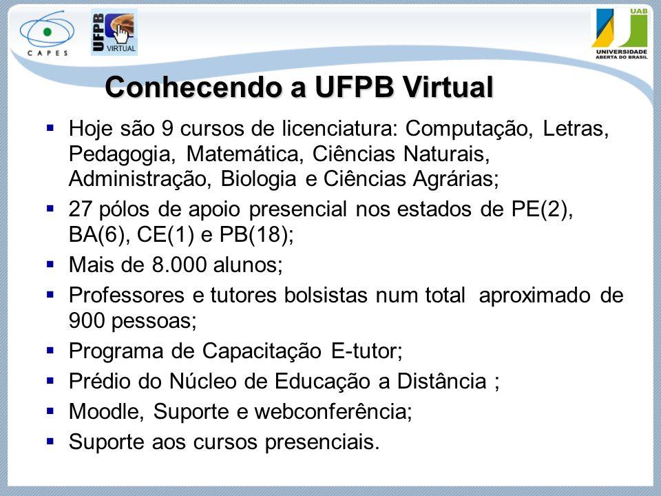 Conhecendo a UFPB Virtual  Hoje são 9 cursos de licenciatura: Computação, Letras, Pedagogia, Matemática, Ciências Naturais, Administração, Biologia e