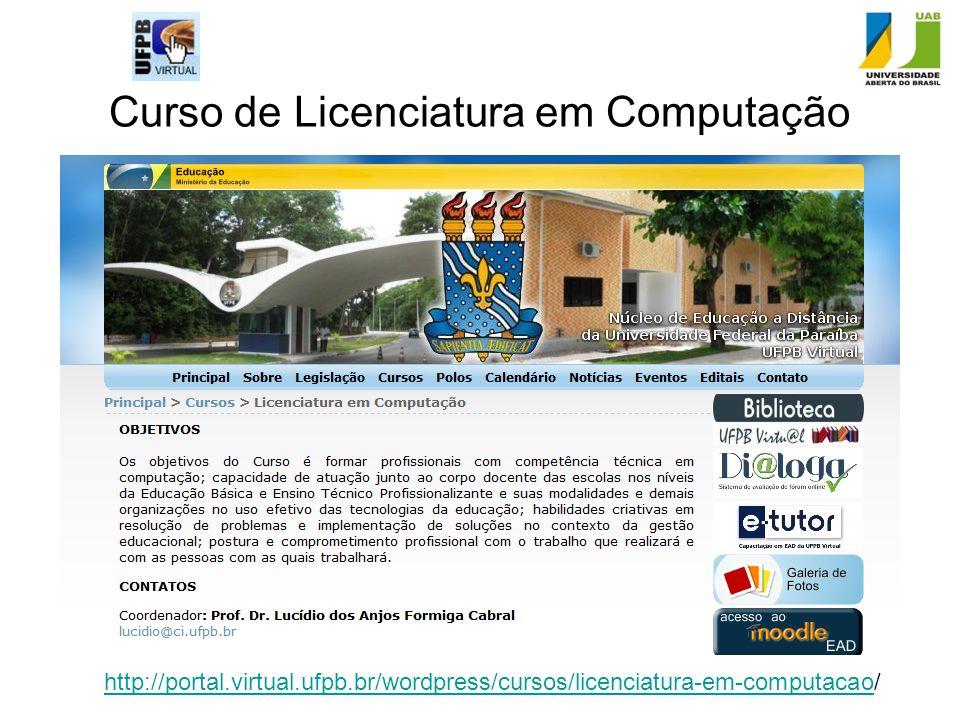 Curso de Licenciatura em Computação http://portal.virtual.ufpb.br/wordpress/cursos/licenciatura-em-computacaohttp://portal.virtual.ufpb.br/wordpress/c