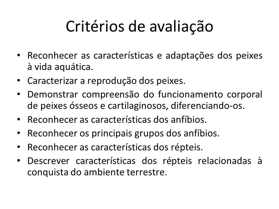 Critérios de avaliação Reconhecer as características e adaptações dos peixes à vida aquática.