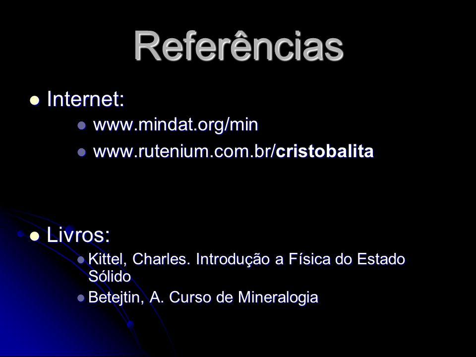 Referências Internet: Internet: www.mindat.org/min www.mindat.org/min www.rutenium.com.br/cristobalita www.rutenium.com.br/cristobalita Livros: Livros: Kittel, Charles.