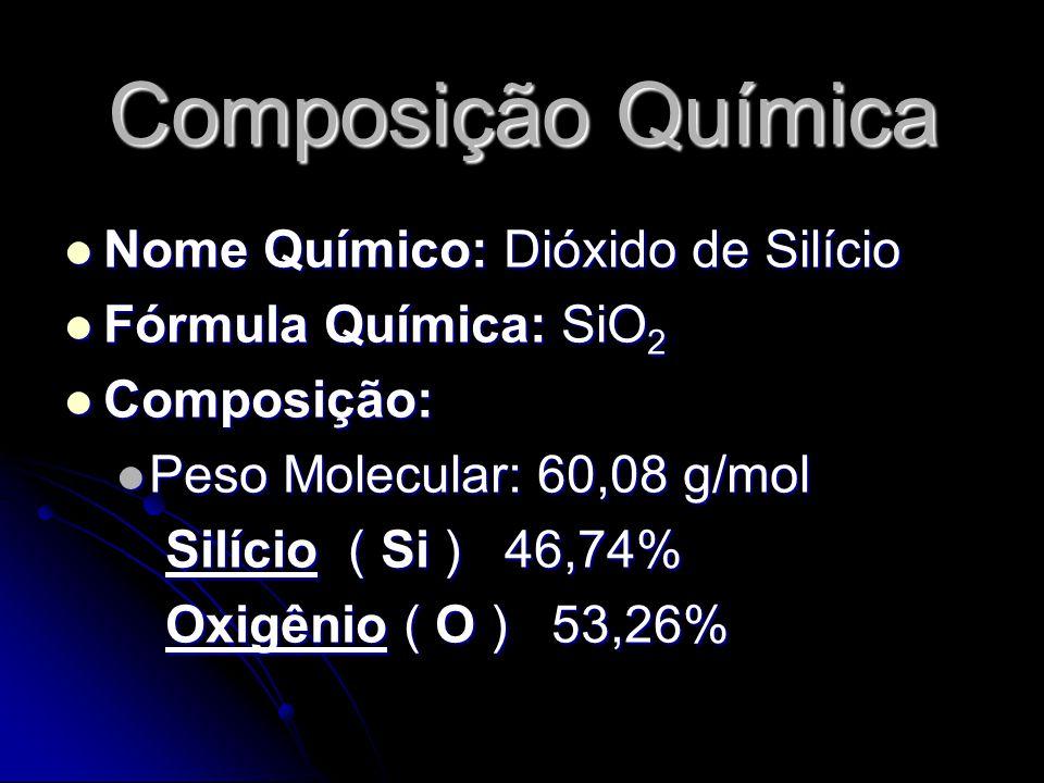 Composição Química Nome Químico: Dióxido de Silício Nome Químico: Dióxido de Silício Fórmula Química: SiO 2 Fórmula Química: SiO 2 Composição: Composição: Peso Molecular: 60,08 g/mol Peso Molecular: 60,08 g/mol Silício ( Si ) 46,74% Silício ( Si ) 46,74% Oxigênio ( O ) 53,26% Oxigênio ( O ) 53,26%