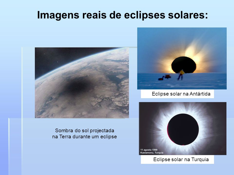 Eclipse do Sol 1 – Eclipse Total do Sol 2 – Eclipse Parcial do Sol Ocorre: Um eclipse solar total para uma região da Terra que esteja no cone da sombr