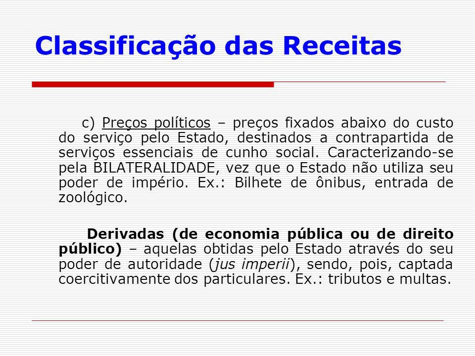 Classificação das Receitas c) Preços políticos – preços fixados abaixo do custo do serviço pelo Estado, destinados a contrapartida de serviços essenci