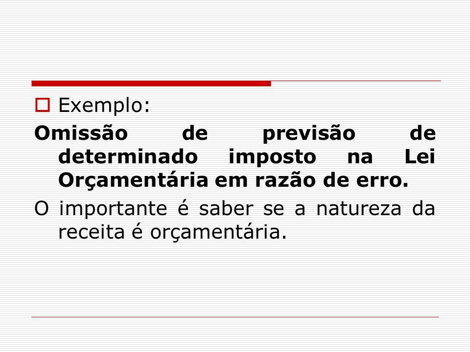  Exemplo: Omissão de previsão de determinado imposto na Lei Orçamentária em razão de erro. O importante é saber se a natureza da receita é orçamentár