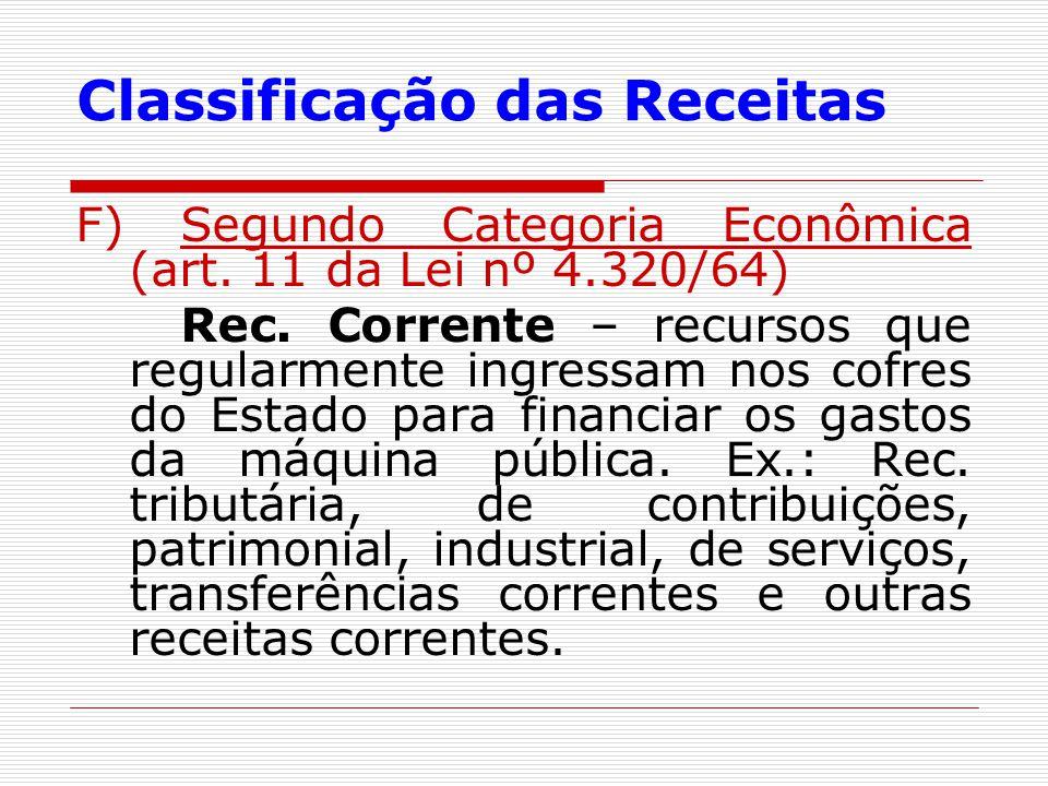 Classificação das Receitas F) Segundo Categoria Econômica (art. 11 da Lei nº 4.320/64) Rec. Corrente – recursos que regularmente ingressam nos cofres